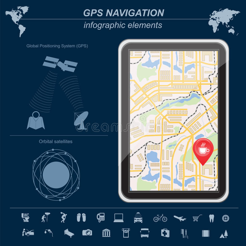 Sistema di posizionamento globale, navigazione Modello di Infographic illustrazione di stock