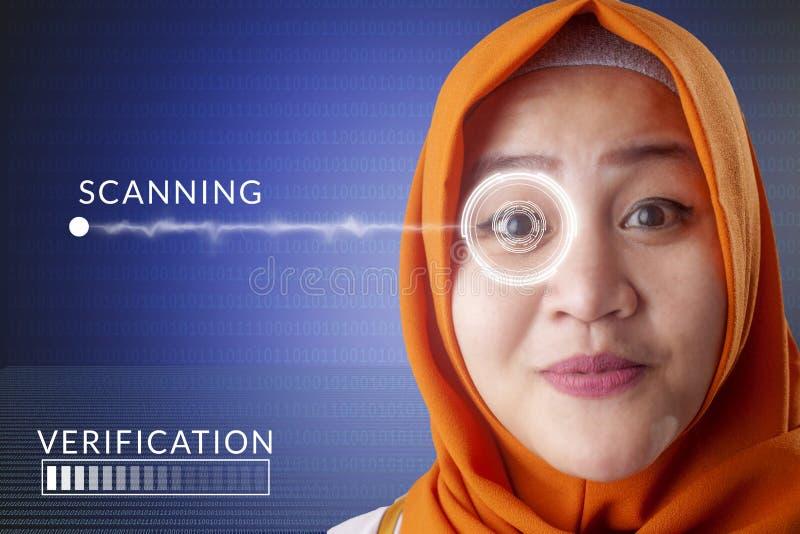 Sistema di rilevamento dell'occhio, donna con tecnologia dei sensori dell'occhio immagini stock libere da diritti