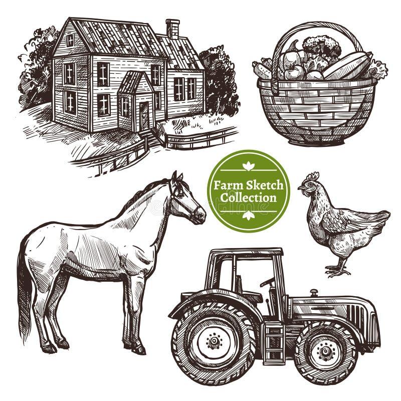 Sistema dibujado del bosquejo de la mano de granja ilustración del vector