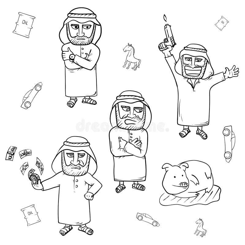 Sistema dibujado mano árabe del garabato del hombre stock de ilustración