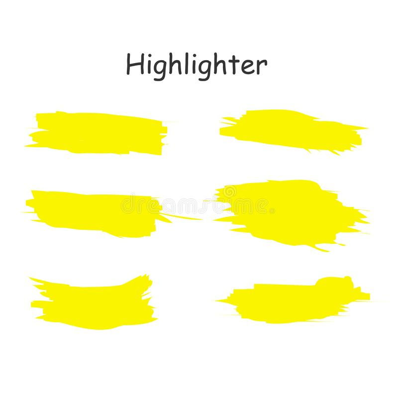 Sistema dibujado mano amarilla del punto culminante de la acuarela Líneas del cepillo del highlighter del vector Movimientos de l libre illustration