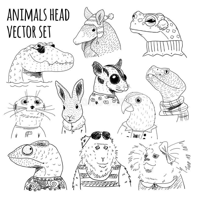 Sistema dibujado mano animal imágenes de archivo libres de regalías