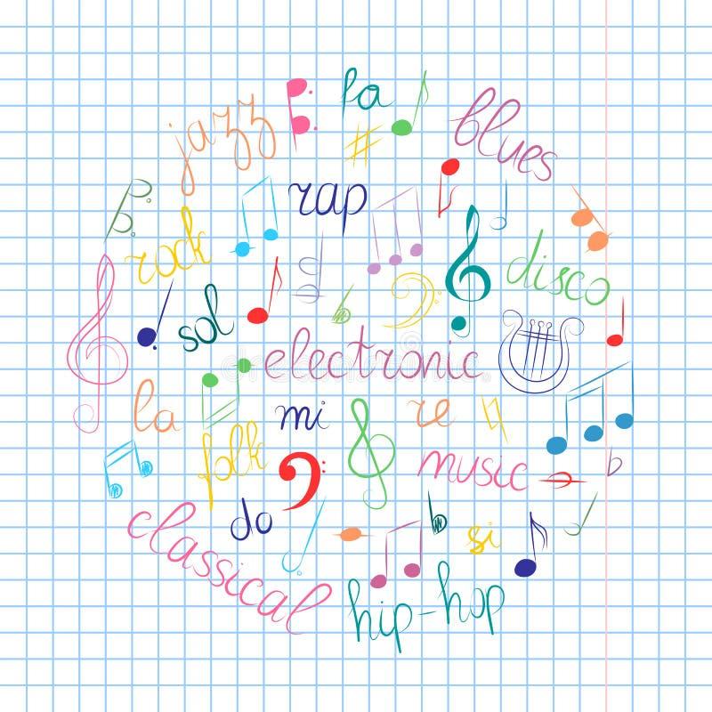 Sistema dibujado mano colorida de símbolos de música Clave de sol del garabato, Bass Clef, notas y estilos de la música dispuesto ilustración del vector