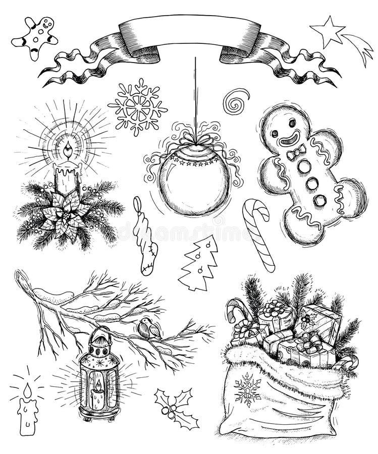 Sistema dibujado mano con los objetos y la bandera de la Navidad stock de ilustración