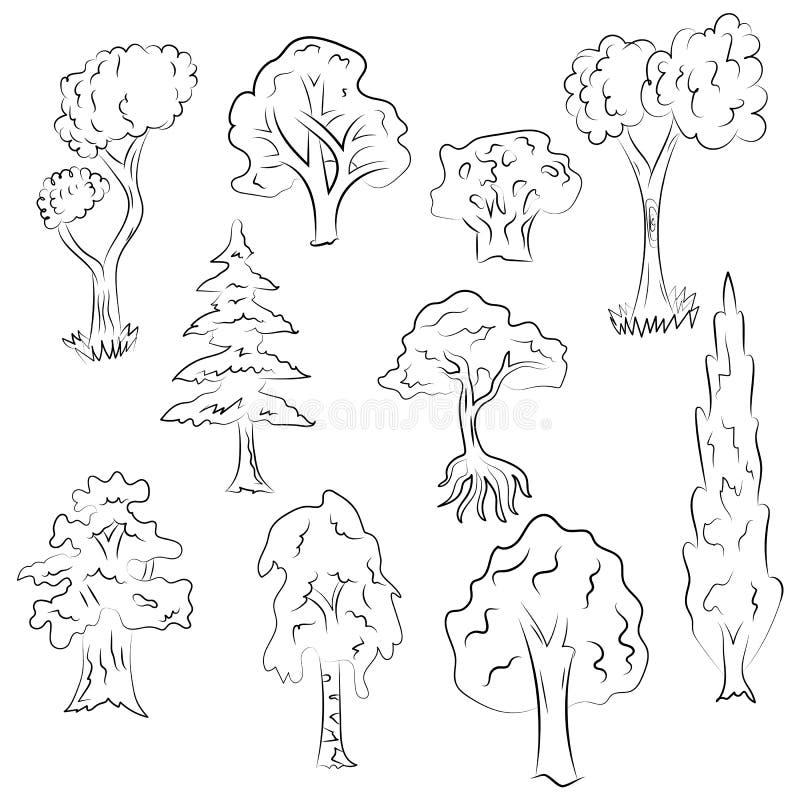 Sistema dibujado mano de árboles Dibujos del garabato del abeto, Cypress, abedul, roble en estilo del bosquejo stock de ilustración