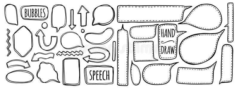 Sistema dibujado mano de burbujas del discurso El elemento habla para el diseño Comi libre illustration