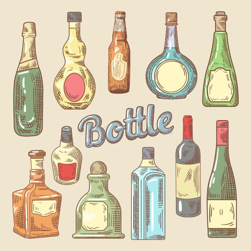 Sistema dibujado mano de diversas botellas para las bebidas stock de ilustración