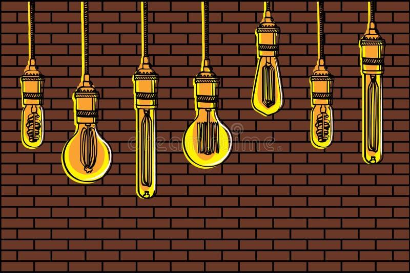 Sistema dibujado mano de diversas lámparas geométricas del desván contra un fondo de la pared de ladrillo stock de ilustración