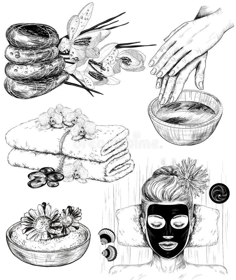 Sistema dibujado mano de ejemplos de la belleza del balneario stock de ilustración