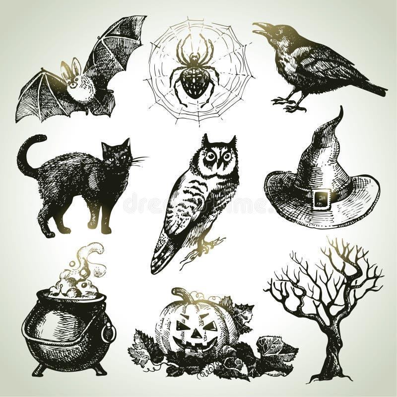 Sistema dibujado mano de Halloween ilustración del vector
