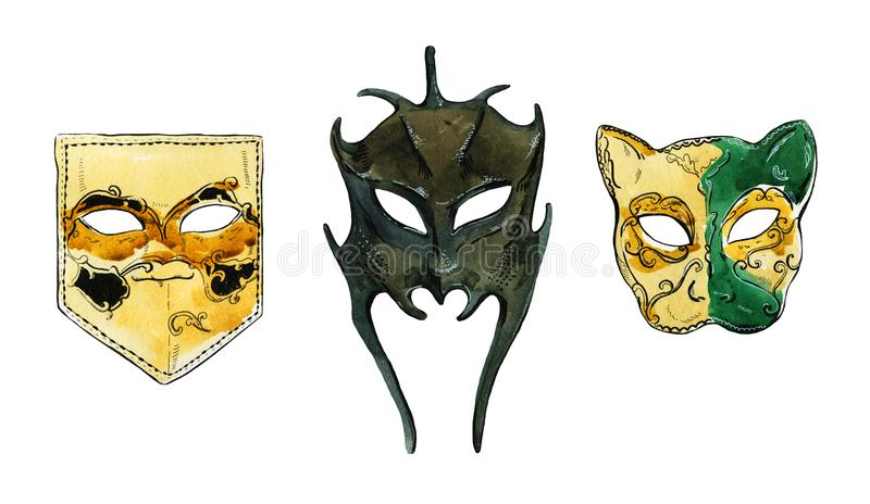 Sistema dibujado mano de la acuarela de las máscaras venecianas ilustración del vector