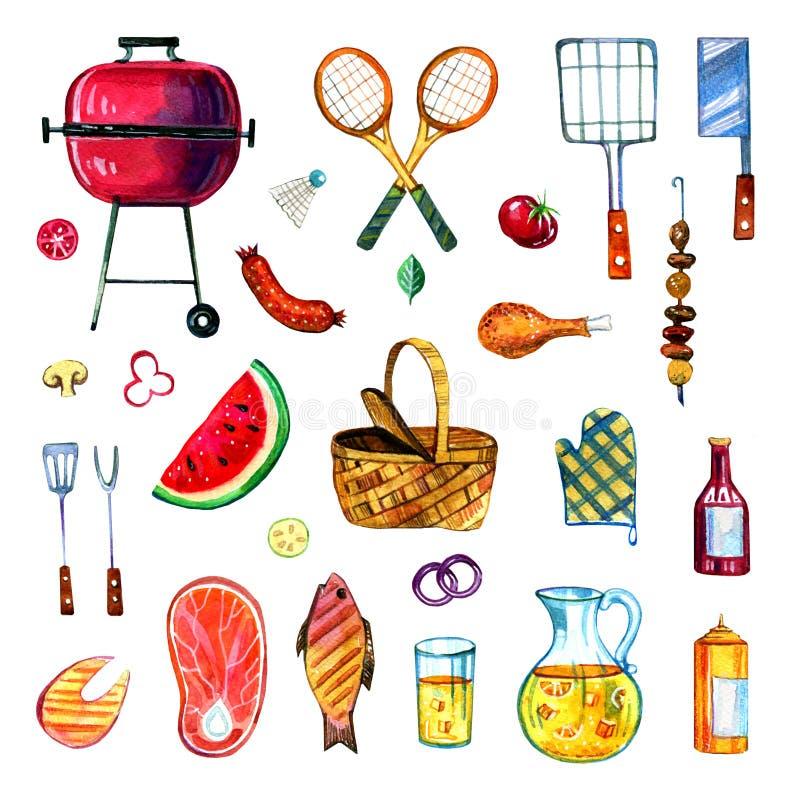 Sistema dibujado mano de la acuarela de los diversos objetos para la comida campestre, el verano que come hacia fuera y la barbac foto de archivo
