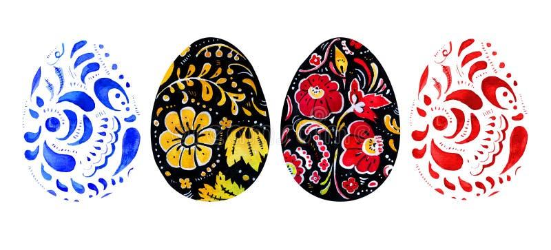 Sistema dibujado mano de la acuarela de los huevos de Pascua en el estilo ruso stock de ilustración