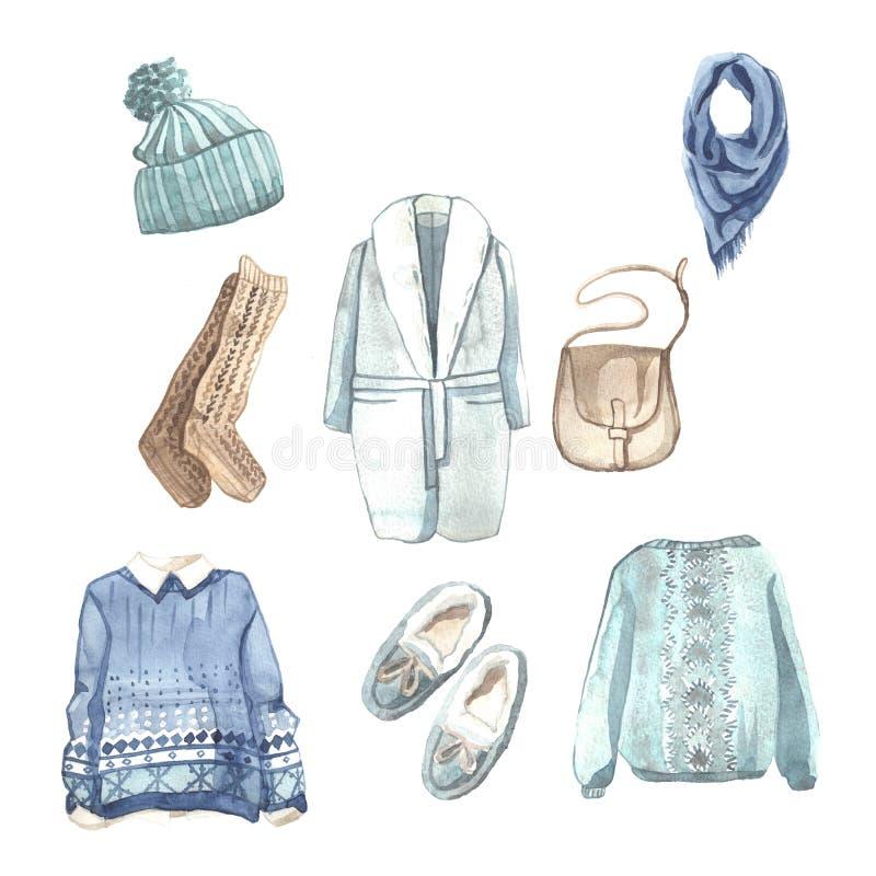 Sistema dibujado mano de la acuarela de ropa del invierno imágenes de archivo libres de regalías