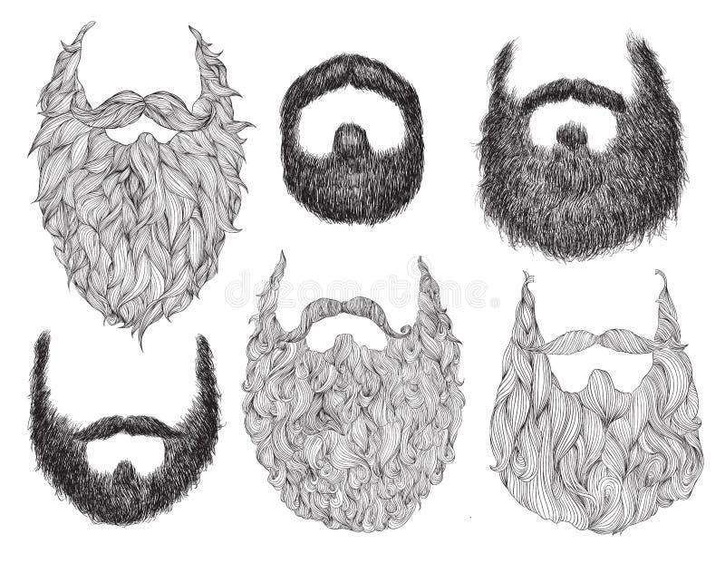 Sistema dibujado mano de la barba libre illustration