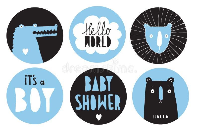 Sistema dibujado mano de la etiqueta del vector de la fiesta de bienvenida al beb? de la barra de caramelo El círculo azul y negr libre illustration