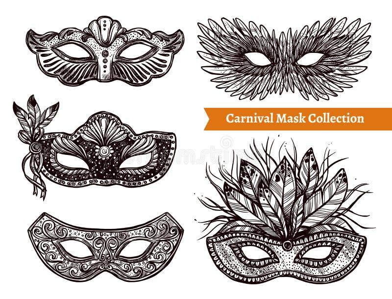 Sistema dibujado mano de la máscara del carnaval ilustración del vector