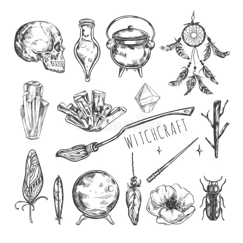 Sistema dibujado mano de la magia Vector la hechicería del ejemplo, la historieta aislada los símbolos Halloween de la colección  ilustración del vector