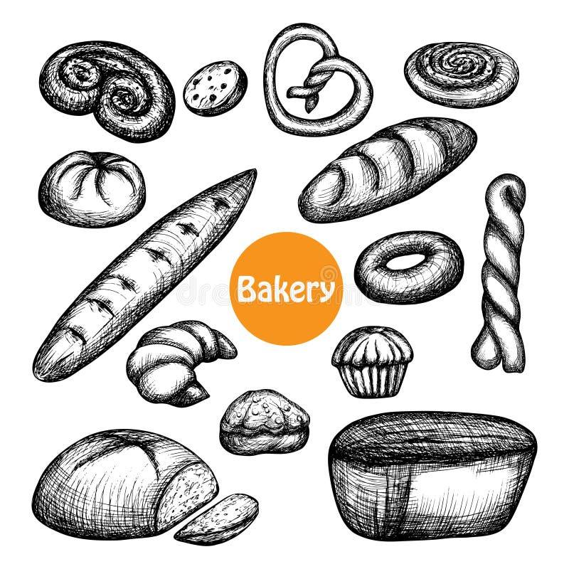 Sistema dibujado mano de la panadería stock de ilustración