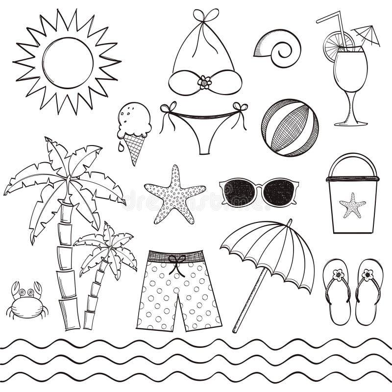 Sistema dibujado mano de la playa stock de ilustración