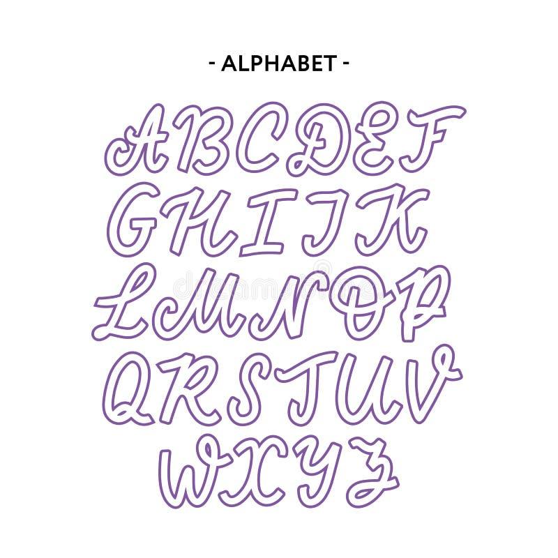 Sistema dibujado mano de la tipograf?a aislado en blanco Caracteres pintados cepillo: min?scula y may?scula Fuente del logotipo d foto de archivo