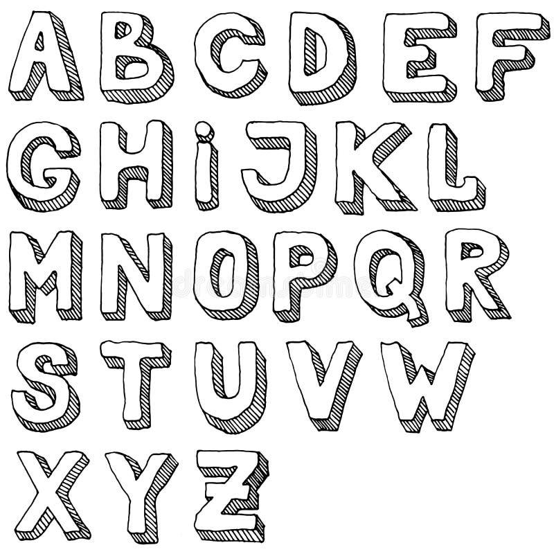 Sistema dibujado mano de las letras de ABC Ejemplo a pulso del alfabeto garabato 3d libre illustration