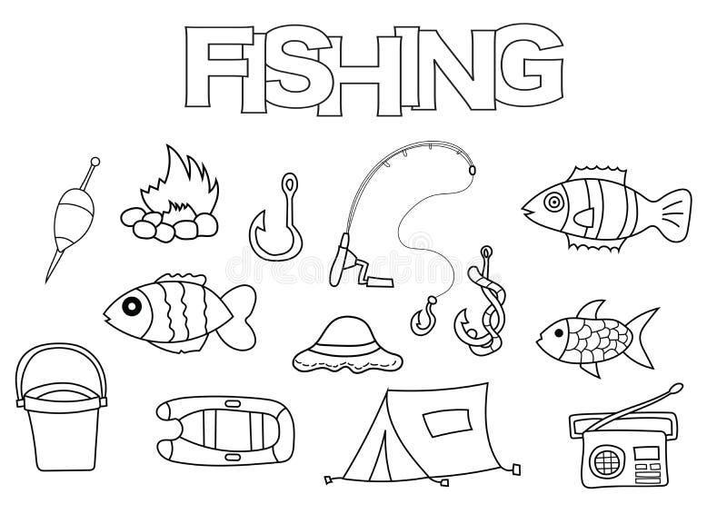 Sistema dibujado mano de los elementos de la pesca Plantilla del libro de colorear Garabato del esquema ilustración del vector
