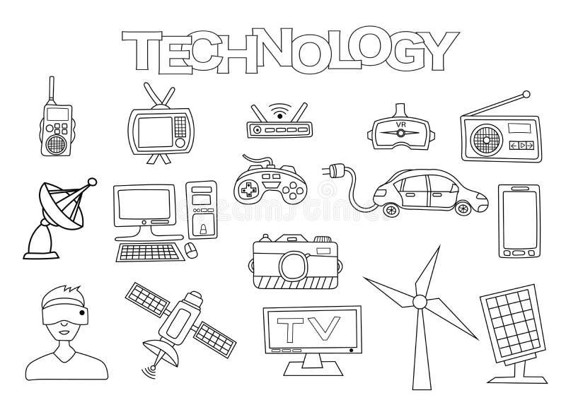 Sistema dibujado mano de los elementos de la tecnología Plantilla del libro de colorear Garabato del esquema stock de ilustración