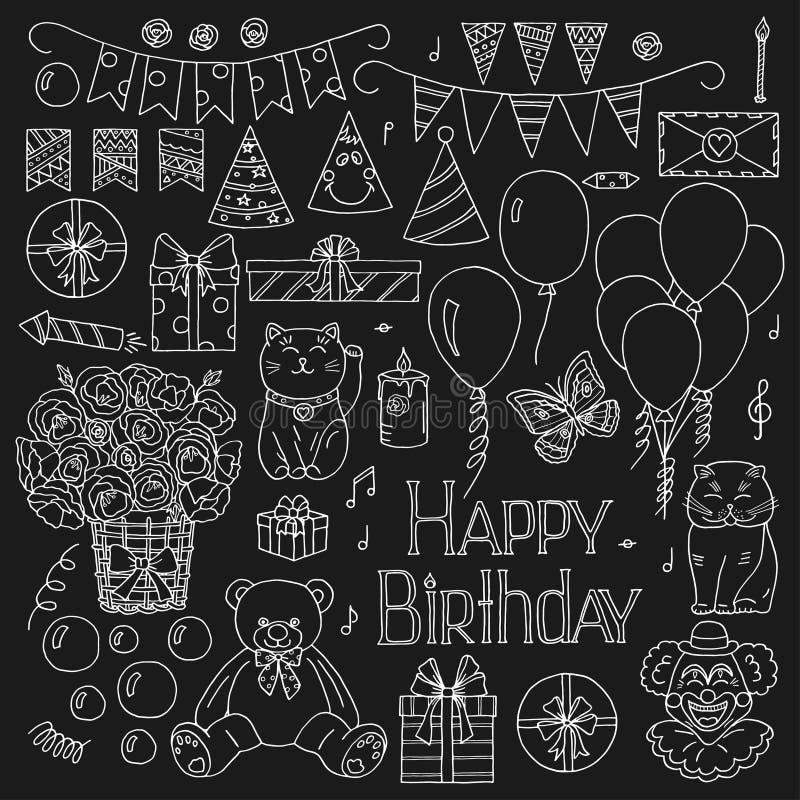 Sistema dibujado mano de los elementos del feliz cumpleaños ilustración del vector