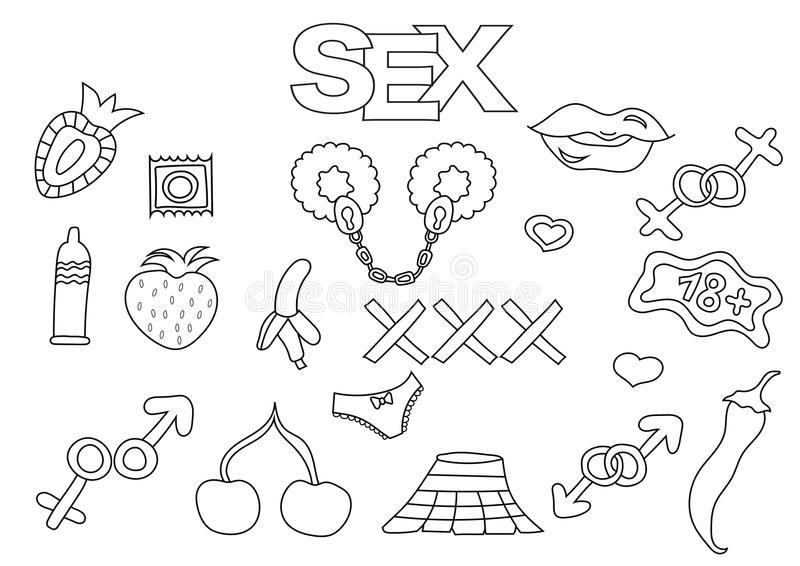 Sistema Dibujado Mano De Los Elementos Del Sexo Y De La Pornografía ...