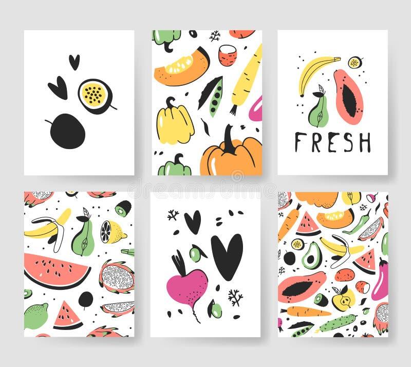Sistema dibujado mano de tarjetas con las frutas y verduras Comida artística del ejemplo del vector Remolachas del dibujo del veg ilustración del vector