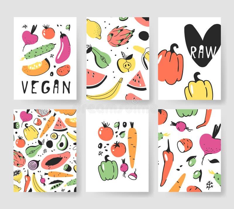Sistema dibujado mano de tarjetas con las frutas y verduras Comida artística del ejemplo del vector Remolachas del dibujo del veg stock de ilustración