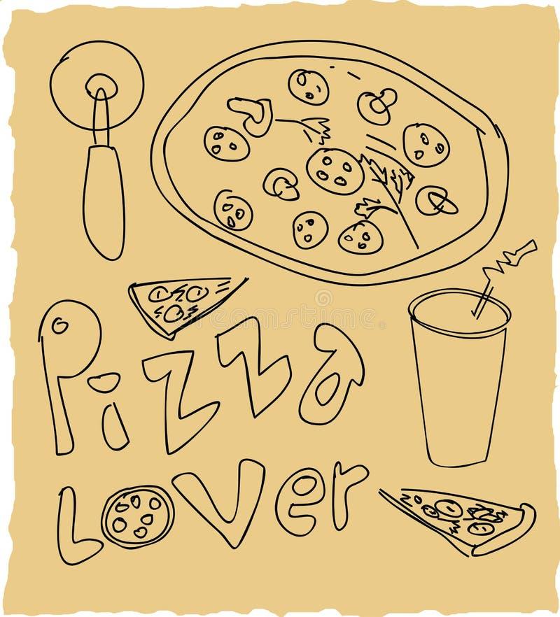 Sistema dibujado mano del amante de la pizza ilustración del vector