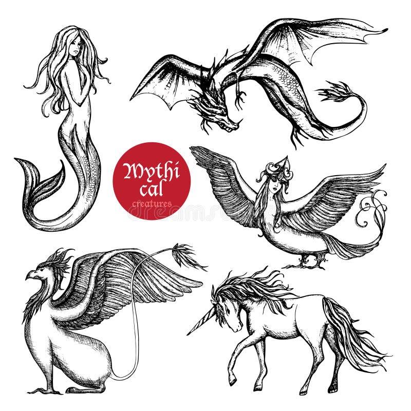 Sistema dibujado mano del bosquejo de las criaturas míticas ilustración del vector