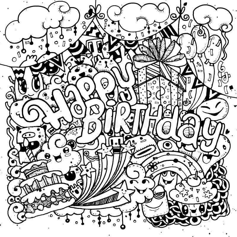 Sistema dibujado mano del bosquejo del feliz cumpleaños con garabato stock de ilustración