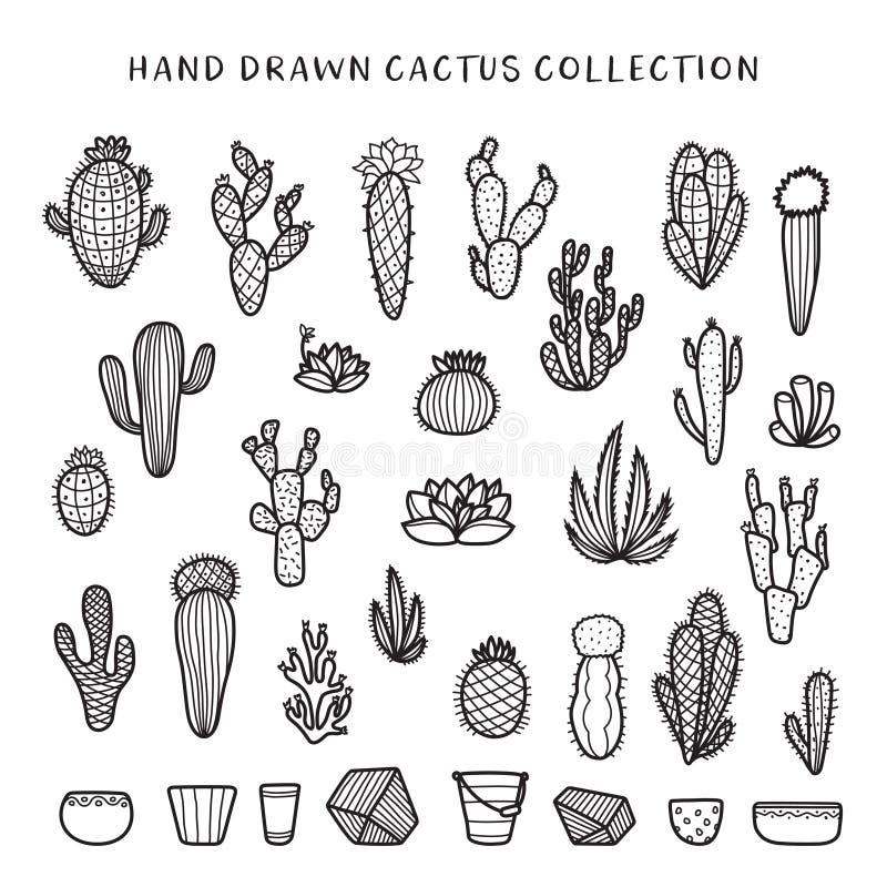 Sistema dibujado mano del cactus Ejemplo del vintage del garabato del vector stock de ilustración