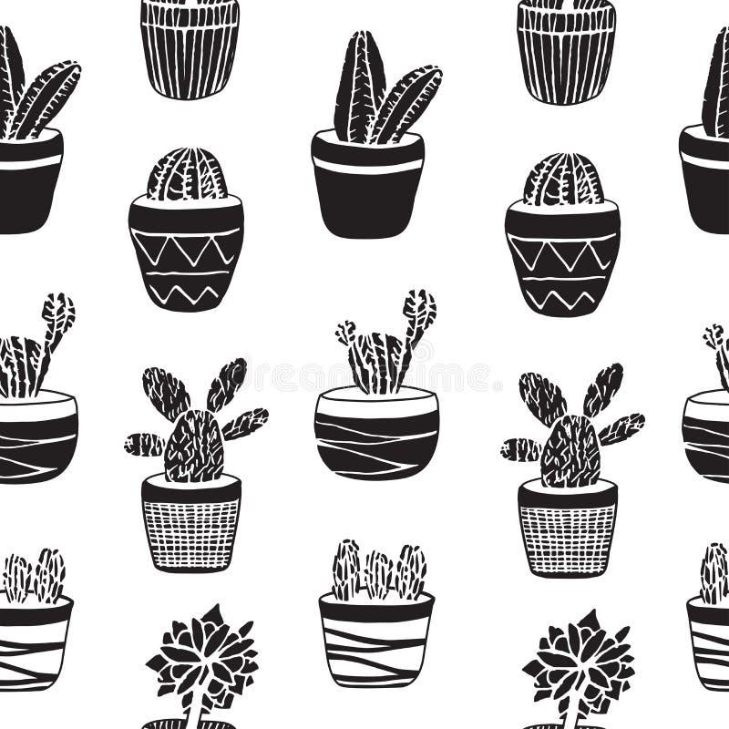 Sistema dibujado mano del cactus en los potes stock de ilustración