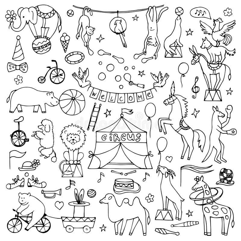 Sistema dibujado mano del circo ilustración del vector