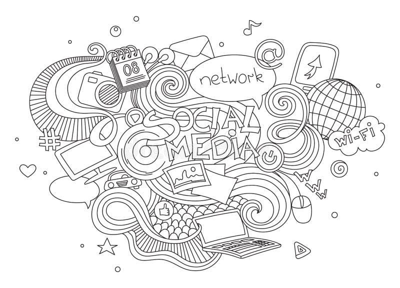 Sistema dibujado mano del ejemplo del garabato del vector de la historieta de medios elementos sociales de la muestra y del símbo ilustración del vector
