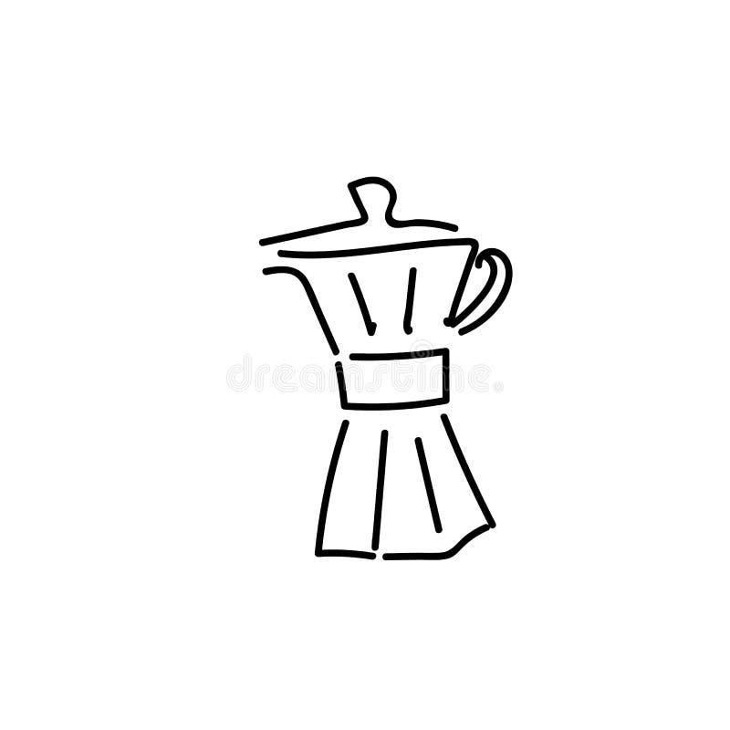 Sistema dibujado mano del ejemplo del vector de la preparación del café Vierta sobre el cervecero, caldera del café, prensa franc ilustración del vector