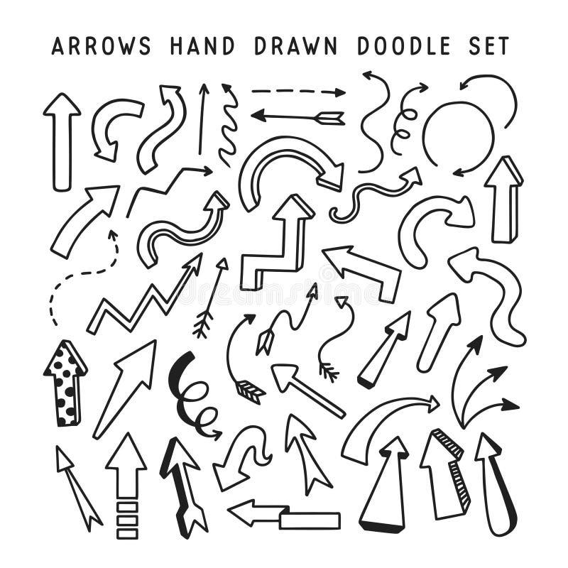 Sistema dibujado mano del garabato de las flechas Ilustración del vector libre illustration