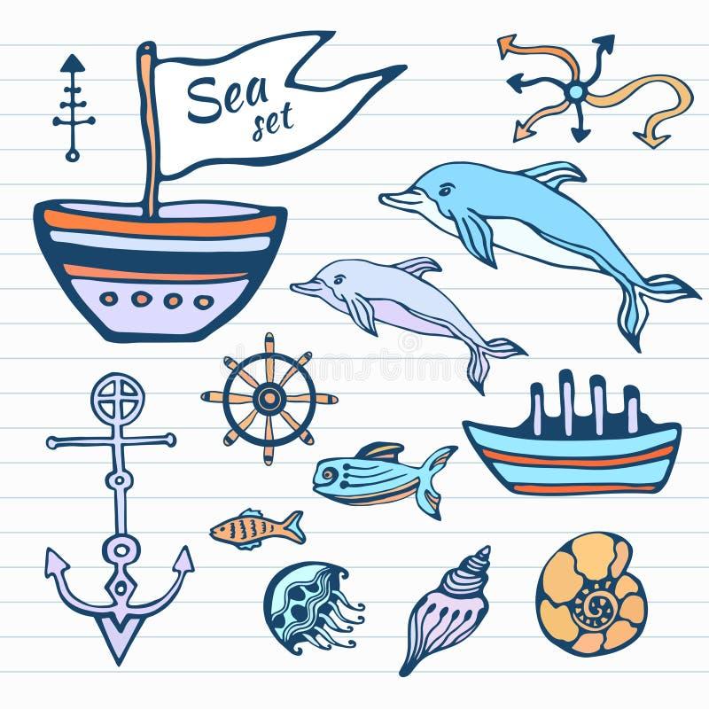 Sistema dibujado mano del garabato del bosquejo de la vida marina Colección náutica con la nave, el delfín, las cáscaras y otra V stock de ilustración