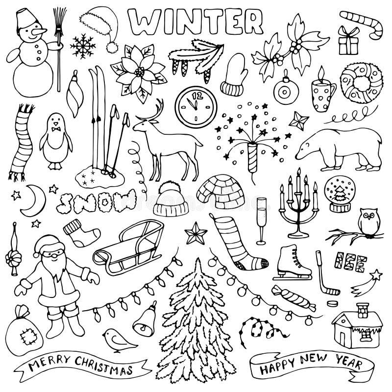 Sistema dibujado mano del garabato del invierno ilustración del vector