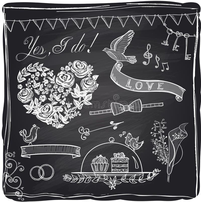 Sistema dibujado mano del gráfico de la boda de la tiza libre illustration