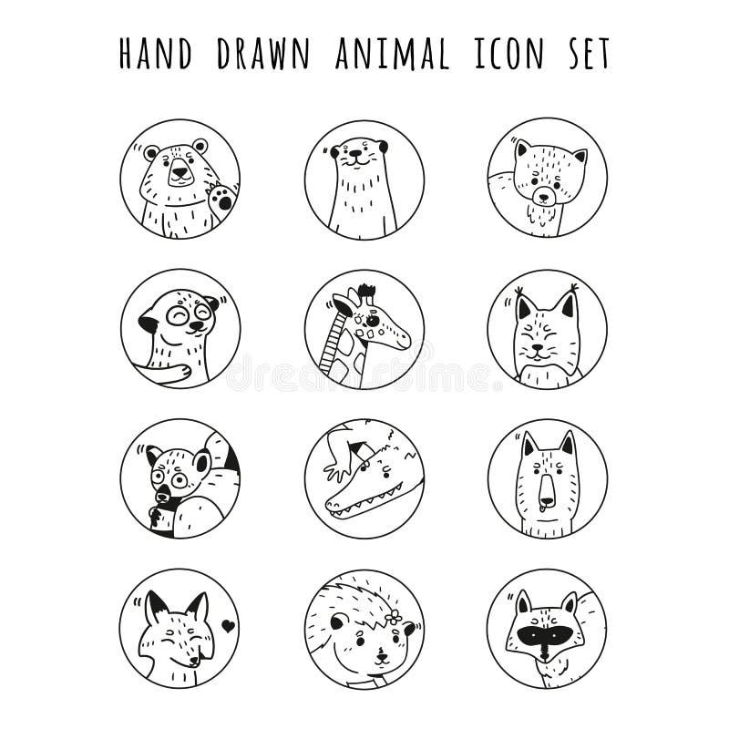 Sistema dibujado mano del icono de los animales del vector foto de archivo
