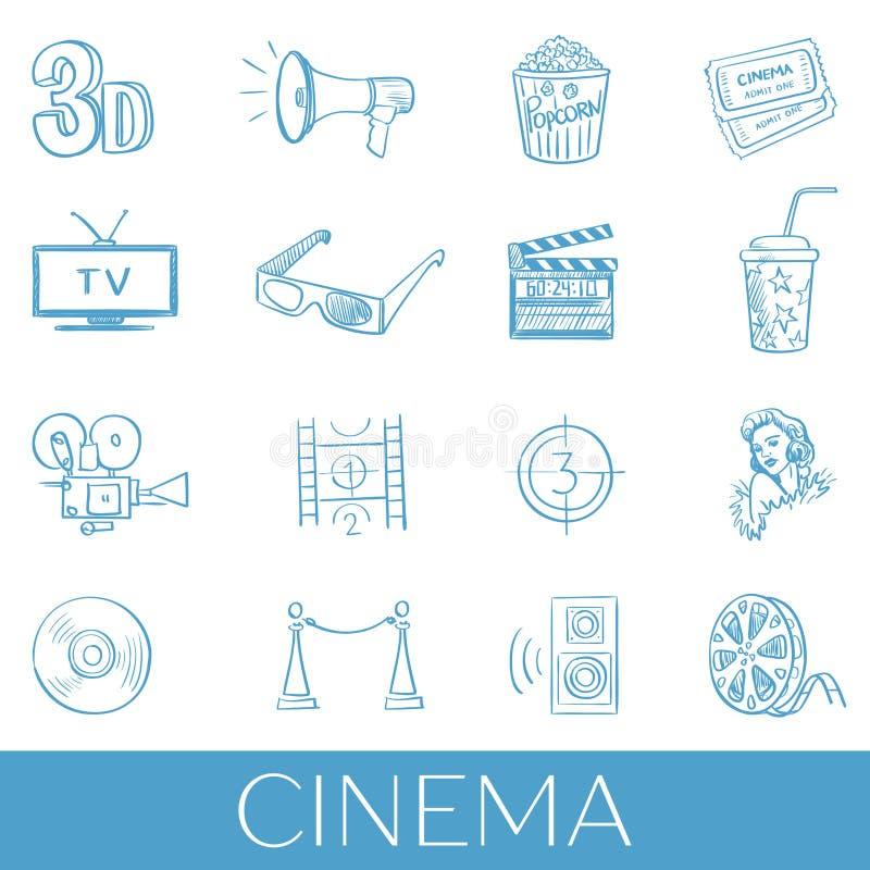 Sistema dibujado mano del icono del cine libre illustration
