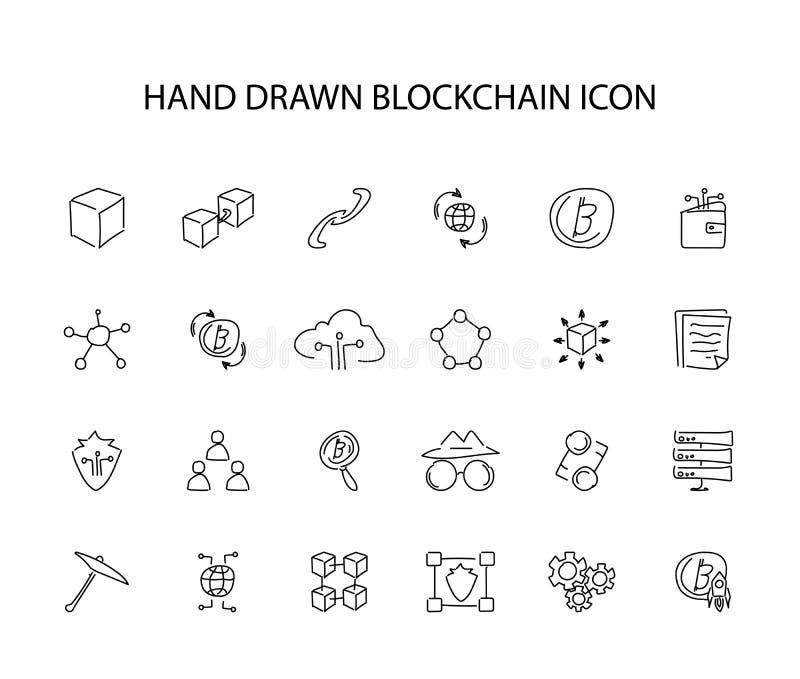 Sistema dibujado mano del icono Paquete de Blockchain libre illustration