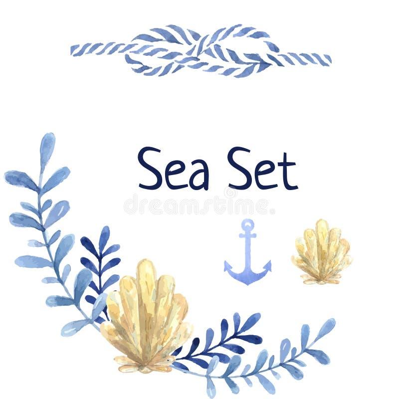 Sistema dibujado mano del mar de la acuarela Con la planta de agua stock de ilustración