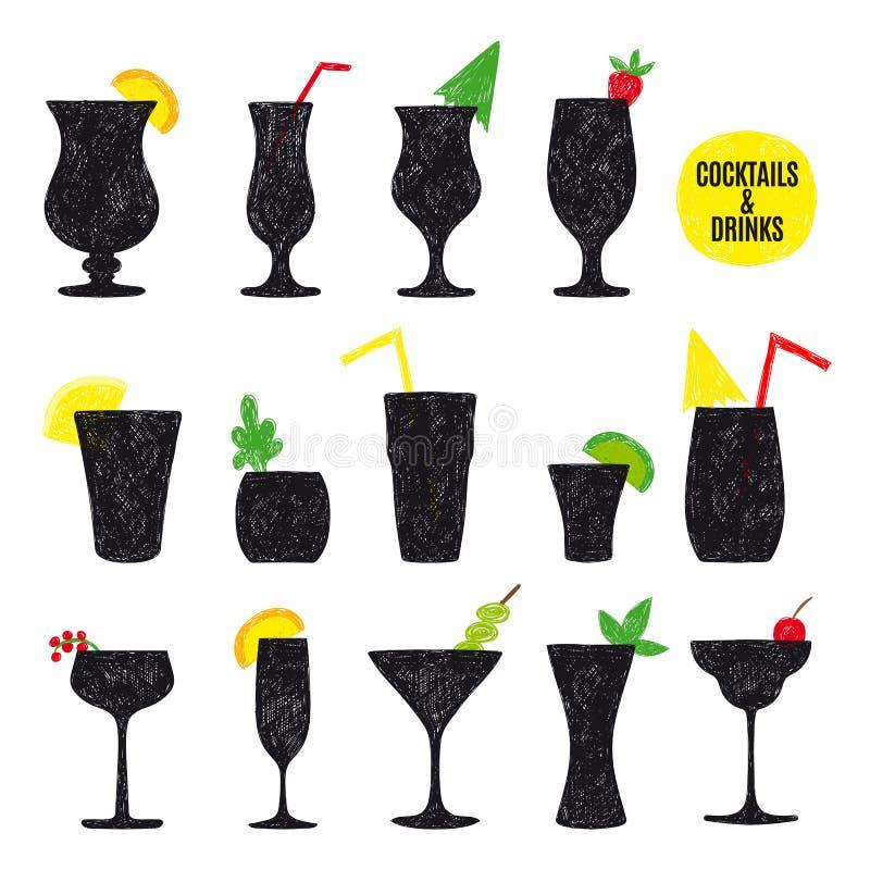 Sistema dibujado mano del vector de cócteles y de alcohol libre illustration