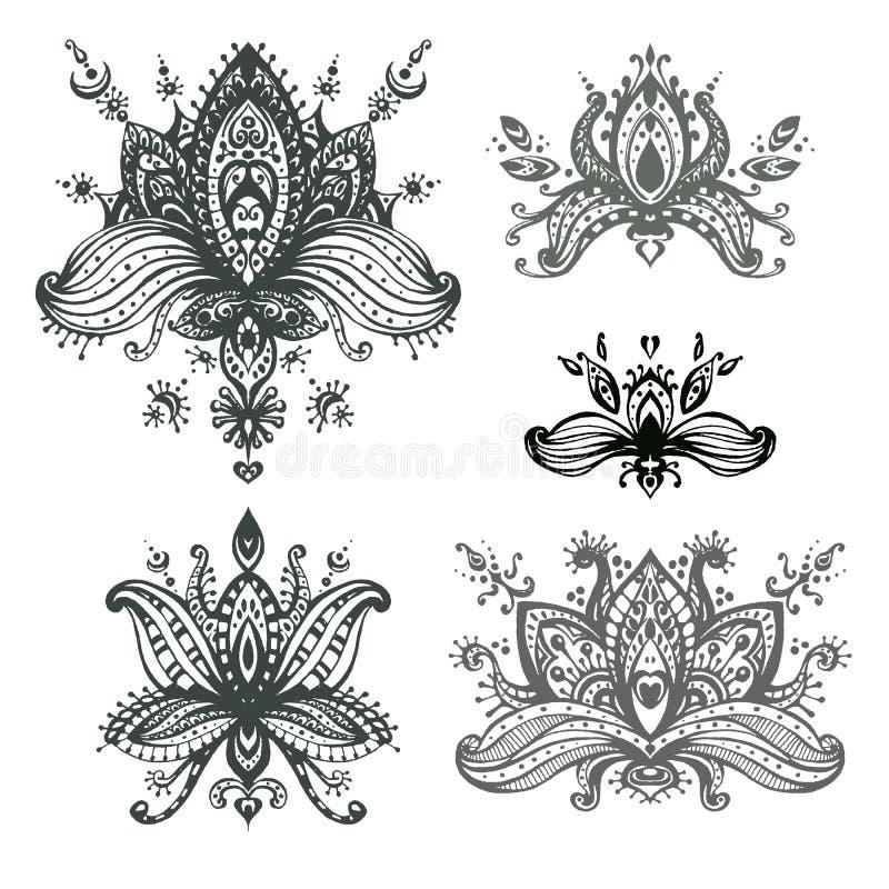 Sistema dibujado mano del vector de elementos florales de los lotos de la alheña basados en el tr stock de ilustración